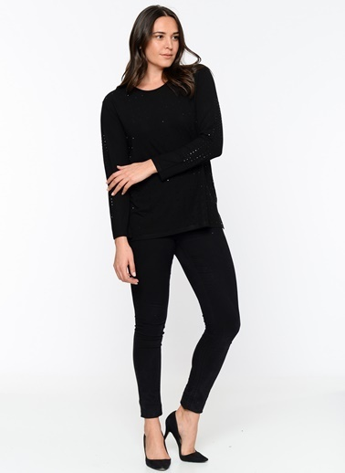 Butik Triko Pullu Uzun Kollu Bluz Siyah